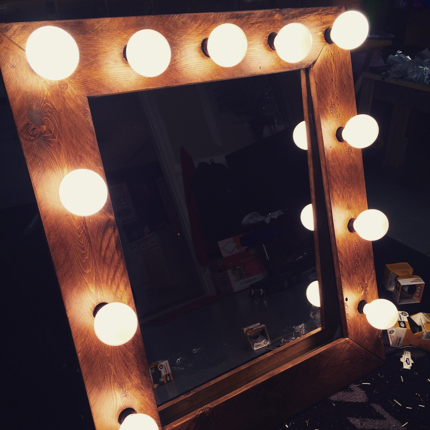 Vanity Lights Hollywood : ON SALE Rustic Hollywood Vanity Lighted Mirror by AWRestoration