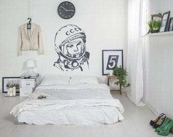 Wall decal Gagarin, Gagarin wall sticker, Astronaut wall sticker, Vinyl wall sticker,Wall stencil, Wall decor, ussr decal