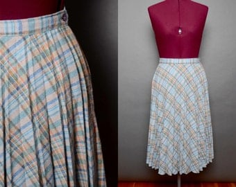 Pleated Skirt 70's Plaid Wool 1970's Skirt Union Made Womens Vintage Accordion Style Made in USA