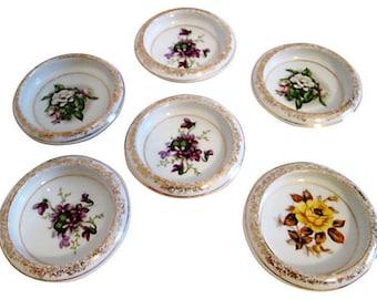22K Gold Porcelain Floral Coasters, S/6