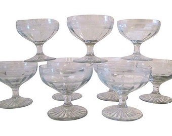 Etched Glass Dessert Compotes, S/9