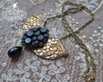 Victorian Mourning Necklace ,Art Deco Necklace, Vintage Brass Necklace, Black Mourning Glass, Mourning Jewelry