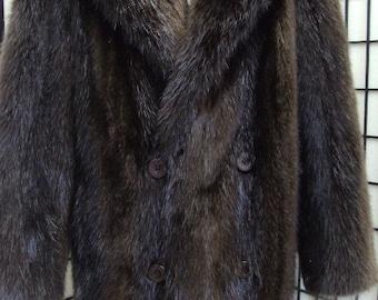 Brand new brown long haired beaver fur coat for men man size all custom made