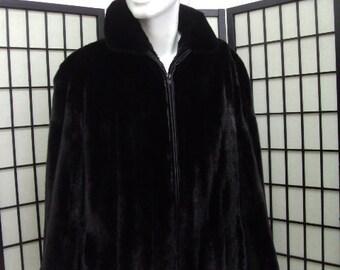 Brand new almost black female mink  fur bomber jacket for men man size all custom made