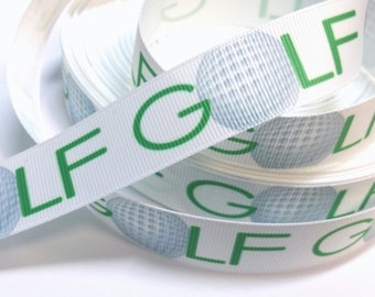 7/8 inch Golf on White with Green Letters Sports Printed Grosgrain Ribbon for Hair Bow