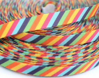 3/8 inch Colorful Diagonal Stripes (thin) - Printed Grosgrain Ribbon for Hair bow