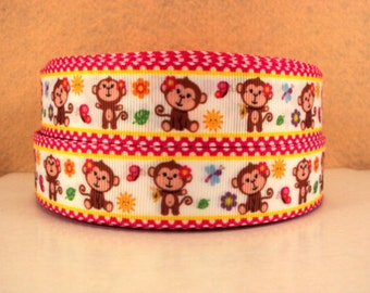 1 inch Monkey Cutie on Hot Pink Polka Dot Border - Printed Grosgrain Ribbon for Hair Bow