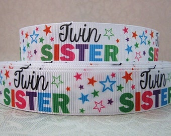 7/8 inch - TWIN SISTER -- Printed Grosgrain Ribbon for Hair Bow