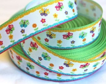 7/8 inch Baby Butterflies - Double Colorful Border - Printed Grosgrain Ribbon for Hair Bow