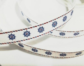 3/8 inch NAUTICAL WHEELS On white - With Border - Printed Grosgrain Ribbon for Hair Bow