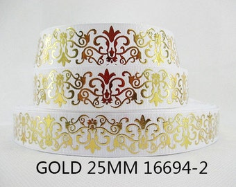1 inch GOLD FOIL Filigree Damask on White - 16694-2 Printed Grosgrain Ribbon for Hair Bow