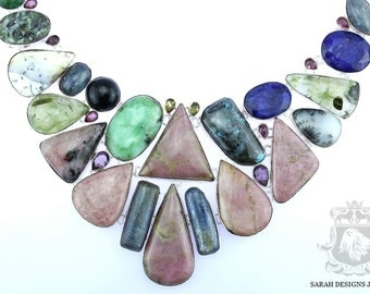 Pink Opal Dendritic Agate SAPPHIRE KYANITE 925 Solid Sterling Silver Necklace n308