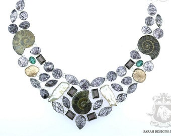 Gotta Have This TOURMALATED QUARTZ AMMONITE 925 Solid Sterling Silver Necklace n309