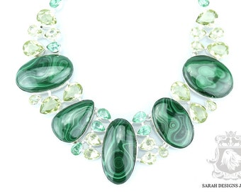 Stunning Pattern Canadian MALACHITE APATITE CITRINE 925 Solid Sterling Silver Necklace n338