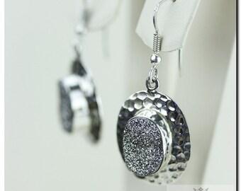 ITALIAN CRAFTSMANSHIP Silver Shine Drusy 925 Solid (Nickel Free) Sterling Silver Italian Made Dangle Earrings E388