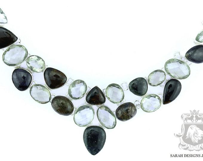 East Africcan CHROME TOURMALINE Prasiolite Green Amethyst 925 SOLID Sterling Silver Necklace