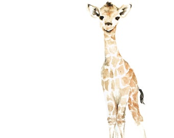 Baby Giraffe Watercolor PRINT - Safari Animal Painting - Baby Giraffe Painting - Safari Animal Watercolor - Baby Animal Painting - Baby Room