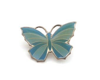 Vintage Blue Butterfly Brooch - 1980's Vintage Butterfly Pin - Free UK Delivery