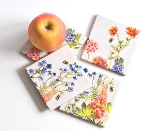 Tile Coasters Spring Meadow,  Tile Coasters Set of 4, Ceramic Coasters, Table Coasters, Drink Coasters Set of 4