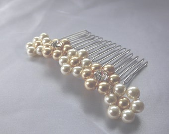 Swarovski pearls and diamantes on silver plated comb - Handmade Nadia Bridal or Prom Comb