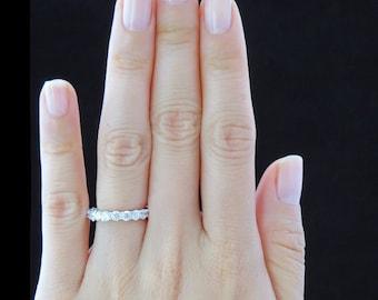 2.35ct  F/G VS2/SI1  Diamond FULL Eternity U-Shaped Ring 14kt White Gold Wedding Band Round Diamonds Anniversary Ring