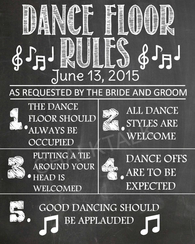 Dance Floor Rules Chalkboard Wedding Printable