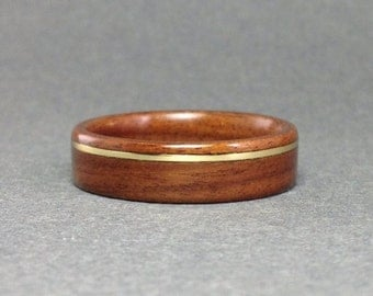 Rosewood Bentwood Ring with Brass Inlay