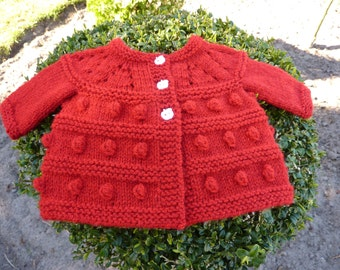 Red dots Baby jacket , Dotted red baby coat , Red baby jacket knit, Baby girl cardigan, Sweet baby jacket knit, Knitted baby coat.
