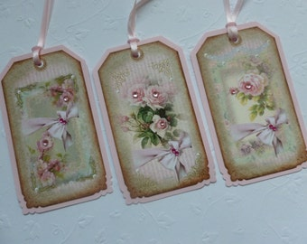 Shabby chic floral gift tags vintage style pink roses gift wrap home decor - set of 6