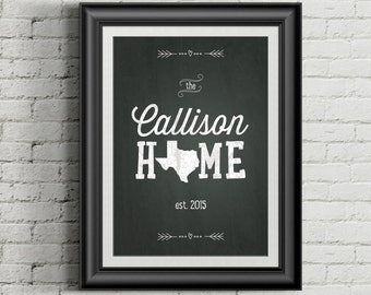 Custom Home Decor- Chalkboard Print Family Name with Home State AND Established Date- Personalized Wall Art