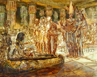 "Original painting, sketch, ""The Feast of Osiris."""