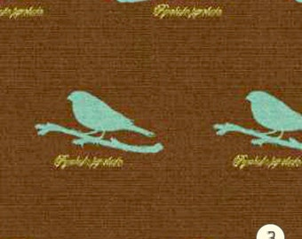 Home Decor Fabric Upholstery Fabric By the Yard Jacquard Bird Silhouette Blue Brown Designer Custom made Drapery Curtains Pillow TR04