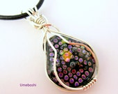 Dotted Pear Argentium  Silver Wire Wrapped Dichroic Glass Pendant - Handmade Fused Glass Jewelry by Umeboshi Designs