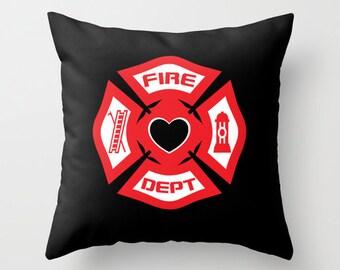 Firefighter LoveThrow Pillow, Firefighter Throw Pillow, Firefighter Decor, Firefighter, Throw Pillow