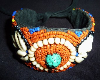 Beadwork Bracelet with Cowry Shells, from Tibet, Vintage