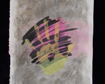 Hands On! - Original Art - - Mixed Media Abstract Collage Art on A3 Paper - Black - Yellow - Pink - Pastel - Ink - Paint - Marker