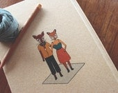 A5 Sketchbook , Foxes Illustration, Recycled paper, Stationary lover, Gift for her, Gift under 20, Gift for designer, Drawing paper