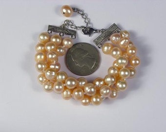 Bracelet FW Champagne Pearls 3 Strands 9mm BHPC0077