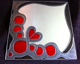 Hand Made 'Totem Hearts' Mirror 12x12""
