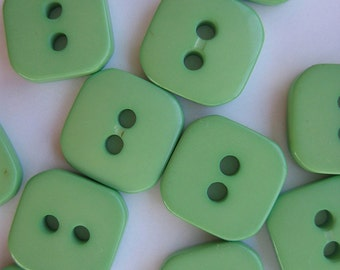 15 Light Green Rounded Corner Square Plastic Vintage Buttons