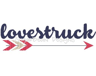 Lovestruck Arrow Embroidery Design. Two Sizes Included. Valentines Day Machine Embroidery Design.