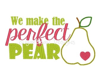 Perfect Pear Embroidery Design. Two Sizes Included. Valentines Day Machine Embroidery Design.
