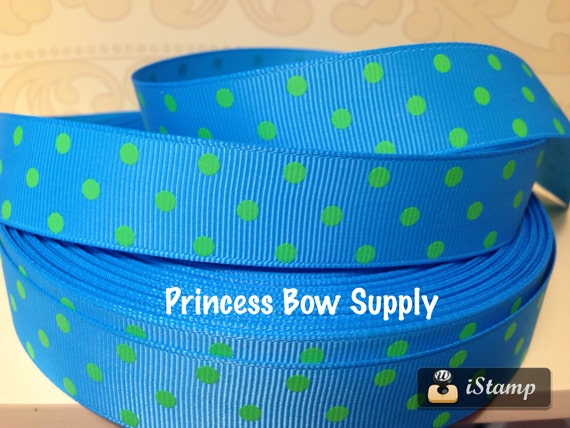 7/8 Turquoise Teal Blue Lime Green Polka Dot By PrincessBowSupply