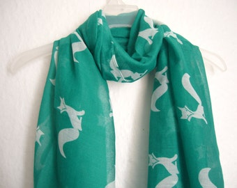 Fox Scarf, Teal And White Fox Scarf, Nature's Scarf, Spring, Summer Scarf, Multi colour Scarf