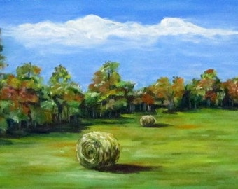 Second Cutting, landscape, trees, fields, North Carolina, 12 x 6, original art, pastel painting