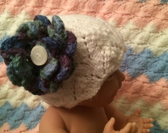 Hand Knit Baby Hat New Born Hat White with Flower Girl