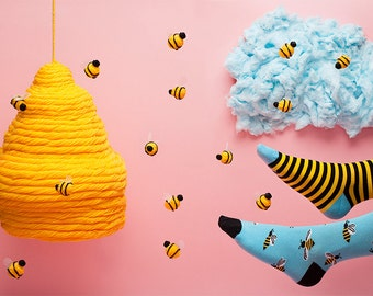 Bee Bee Socks | men socks | colorful socks | cool socks | mismatched socks | womens socks | unique socks | patterned socks | crazy socks