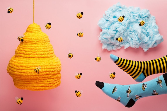 Bee Bee Socks | men socks | colorful socks | cool socks | mismatched socks | womens socks | unique socks | patterned socks | crazy socks
