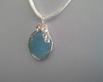 Blue Chalcedony Wire Wrapped Pendant/Necklace