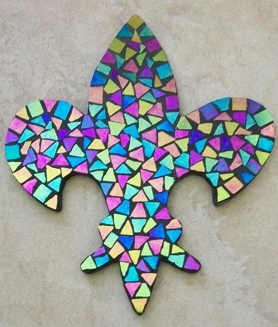 Fleur De Lis Mosaic With Hand Cut By Southerncrossmosaics